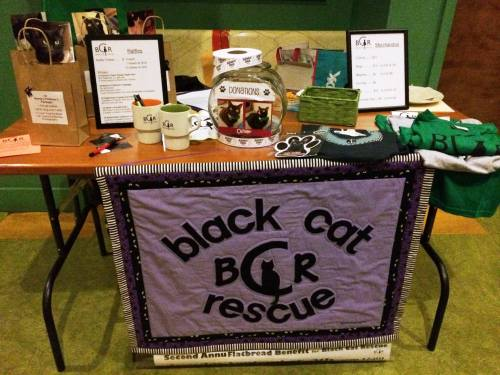 The Black Cat Rescue table at Flatbread Somerville. Look at our new quilted banner!